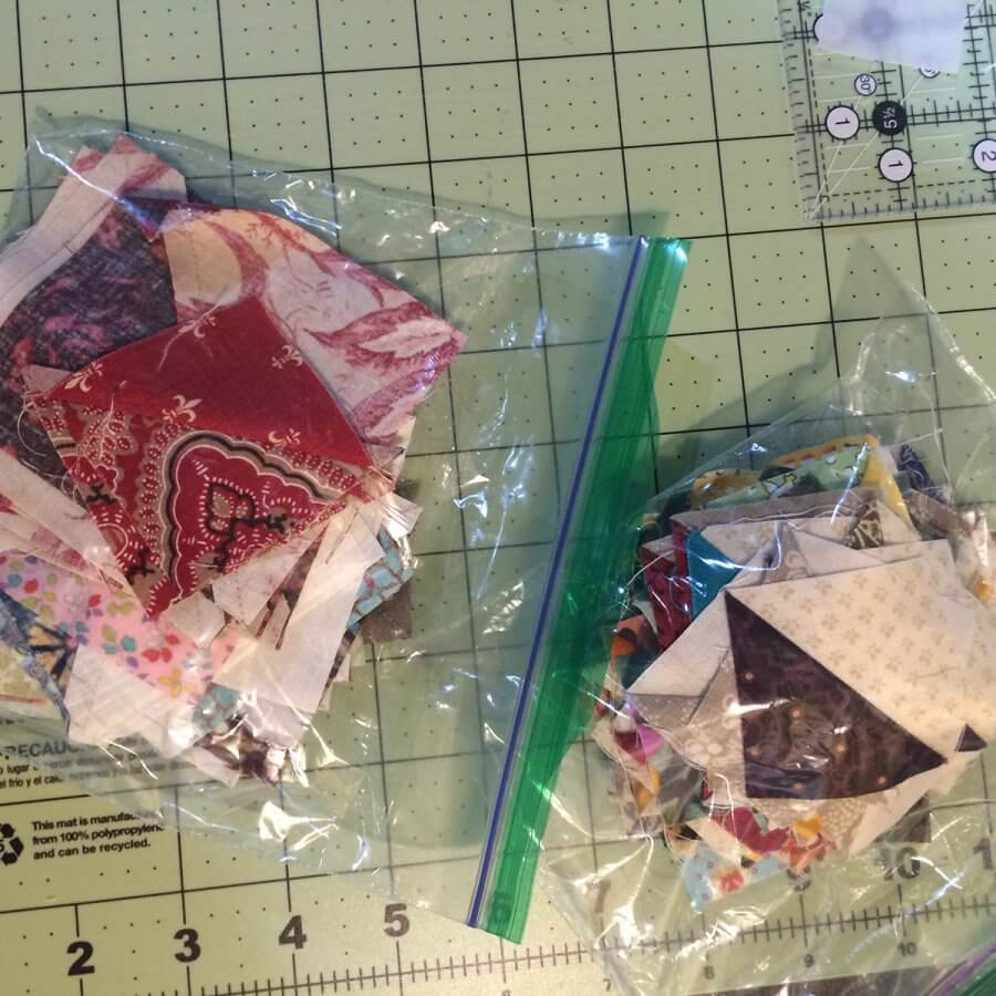 Photo of ziplock baggie full of HSTs made from Quick Corners