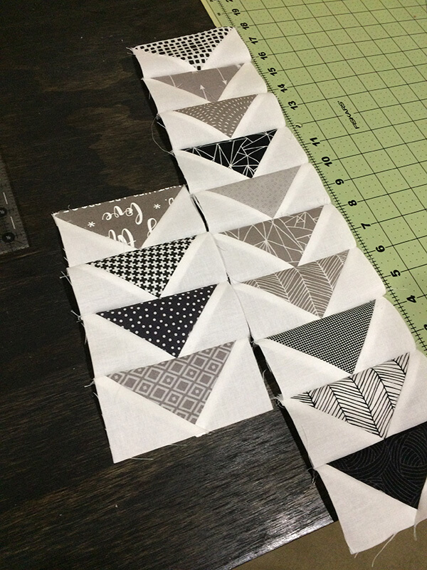 photo of small rows of flying geese quilt block units