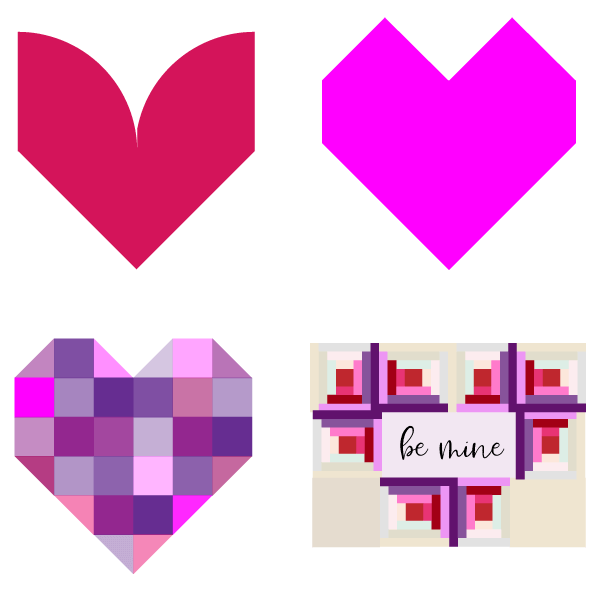 Illustrations of various Heart shaped quilt blocks