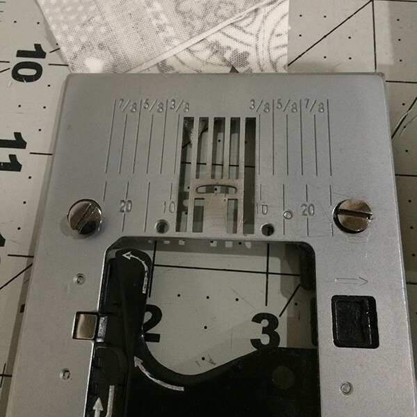 Photo of a switch plate and screws that have been removed from a sewing machine