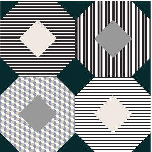 Illustration of a Kansas Dugout Quilt Block with stripes