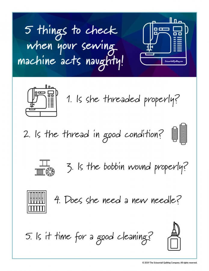 Infographic of checklist to use when troubleshooting sewing machine problems