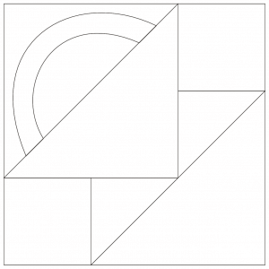 Outlined illustration of the baby basket quilt block