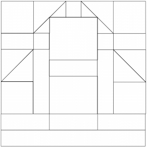 Outlined illustration of barn quilt block