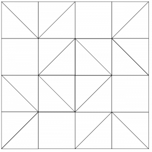 outlined illustration of the Blockade Quilt Block