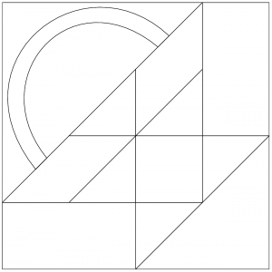 outlined illustration of the bread basket quilt block