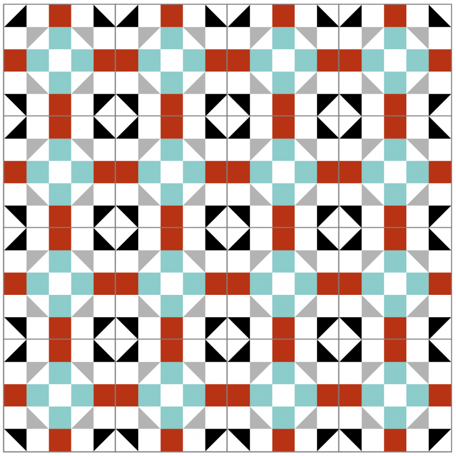 Illustration of a group of cain and abel quilt blocks