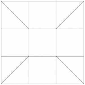 outlined illustration of the calico puzzle quilt block
