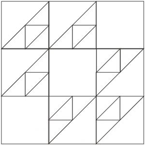 outlined illustration of cat's cradle quilt block