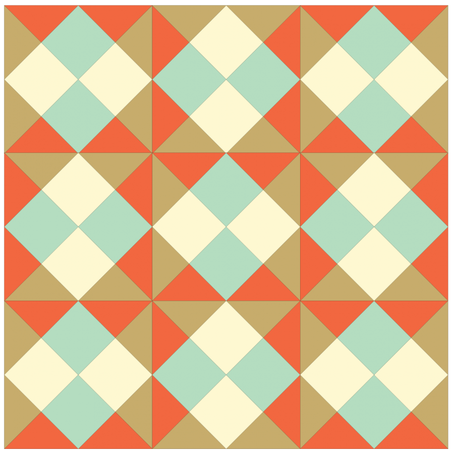 Illustration of a Grouping of straight set Checkerboard quilt blocks with every other block rotated.