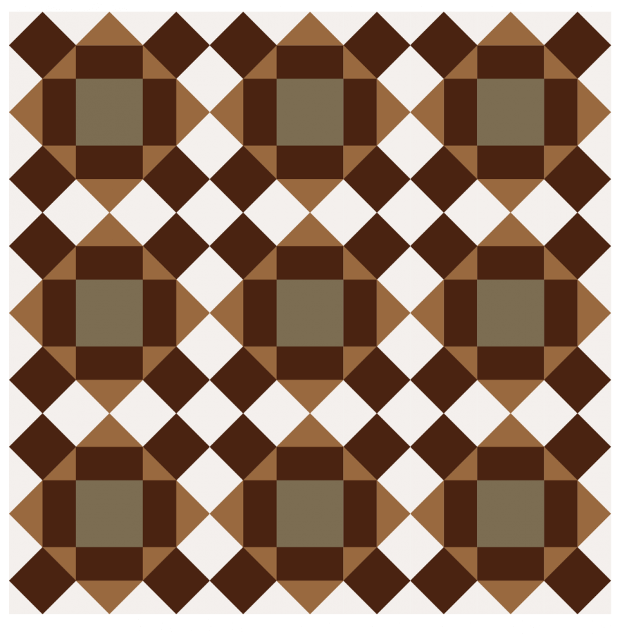 Illustration of a group of chocolate cake quilt blocks