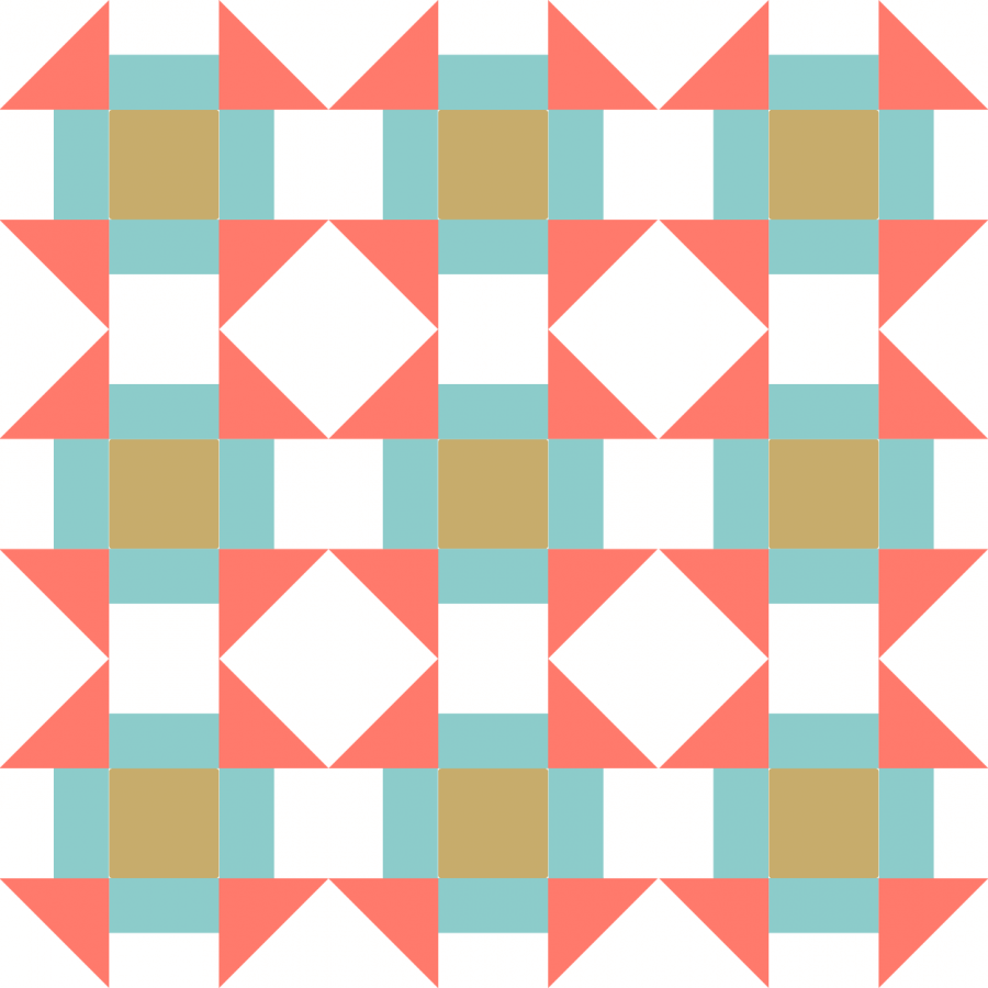 Illustration of a Grouping of Churn Dash Quilt Block