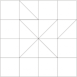 Outlined illustration of the clay's choice quilt block