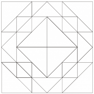 Outlined illustration of the corn and beans quilt block