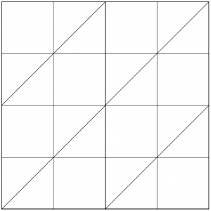 Outlined illustration of the Cotton Reels Quilt Block