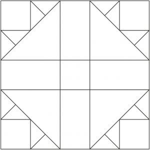 Outlined illustration of the Cross and Crown Quilt Block