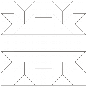 Outlined illustration of the David and Goliath quilt block