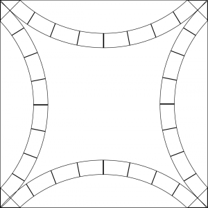 outlined illustration of the double wedding ring quilt block