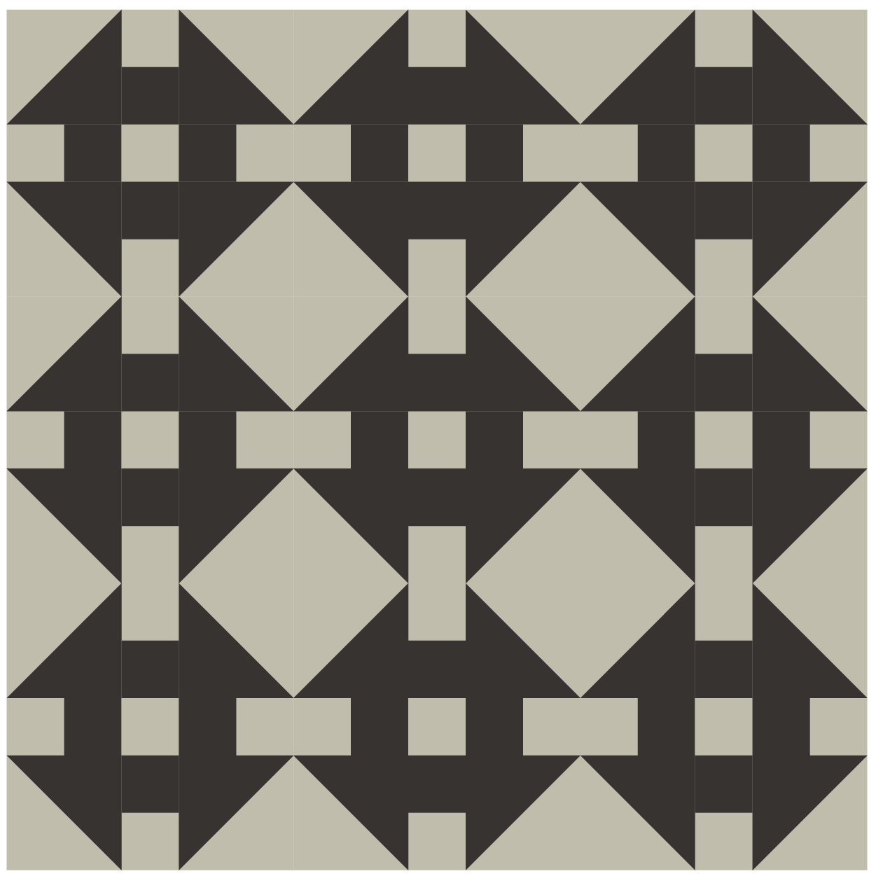 Illustration of A grouping of Double Wrench Quilt Blocks