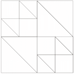 Outlined illustration of the double X quilt block (Version 2)