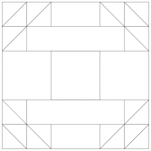 outlined illustration of the double x quilt block (version 1)