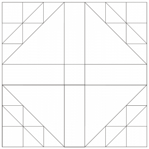 outlined illustration of the dove in a window quilt block