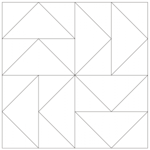 outlined illustration of dutchman's puzzle quilt block