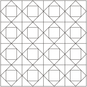 Outlined drawing of a group of economy quilt blocks