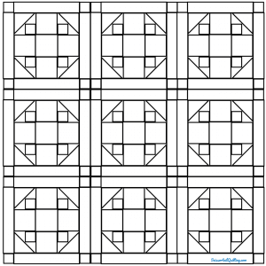 Outlined drawing of a group of Fanny's Favorite Quilt Blocks