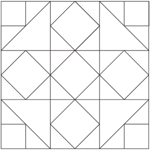 OUTLINED Illustration of the Five Spot Quilt Block