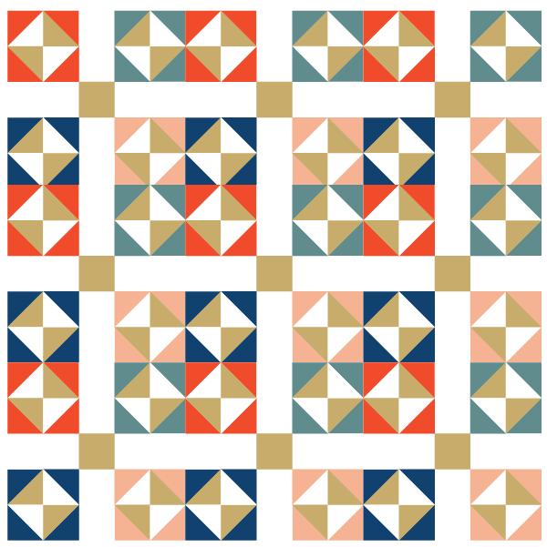 Illustration of a Group of Garden of Eden Quilt Blocks