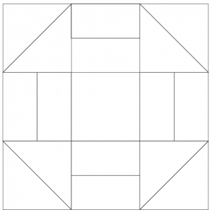 outlined illustration of grecian square quilt block
