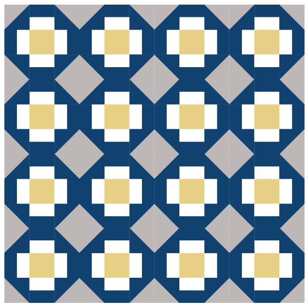 Illustration of quilt made with Grecian Square Quilt Blocks