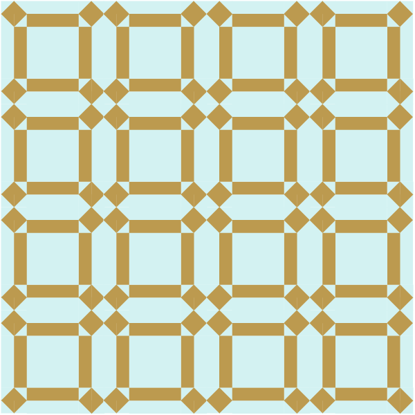 illustration of a grouping of johnnie round the corner quilt blocks