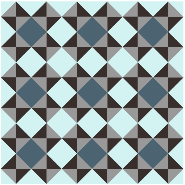 Illustration of a quilt made with Tipper Canoe and Tyler Too Quilt Blocks