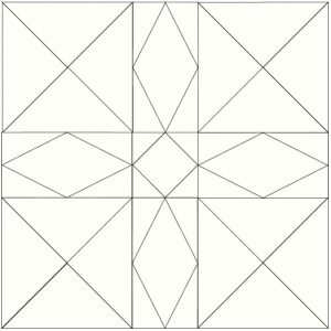 outlined illustration of the Minnesota quilt block