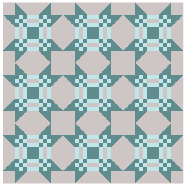 Illustration of the Missouri Puzzle Quilt Block used in a quilt layout