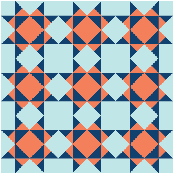 Illustration of a quilt layout using the Missouri Star Quilt Block