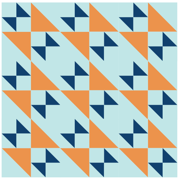 Ilustration of a quilt design using Old Maid's Puzzle Quilt Block