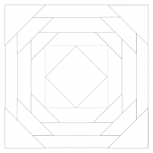 outlined illustration of a pineapple quilt block