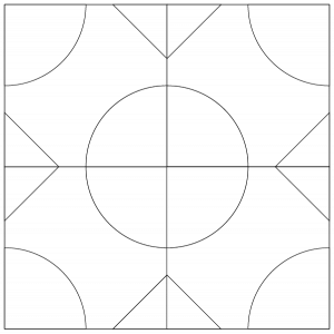 outlined illustration of the Pullman's Puzzle Quilt Block
