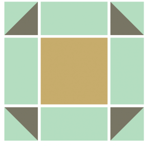 Illustration of the Exploded version of the Puss in the Corner Quilt Block Pattern