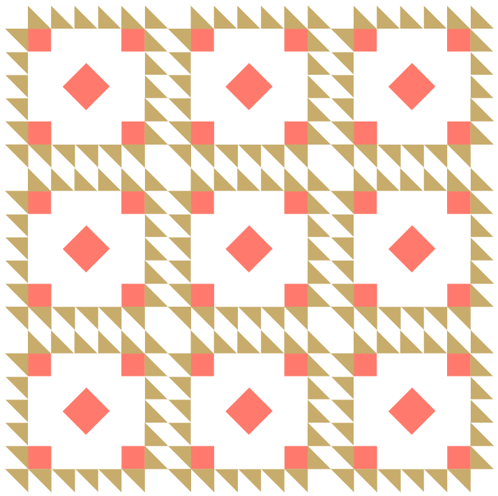 illustration of a straight set layout for a quilt made with Queen victoria quilt blocks