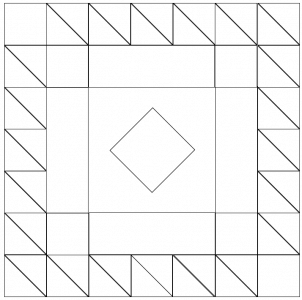 Outlined Illustration of the queen victoria's quilt block