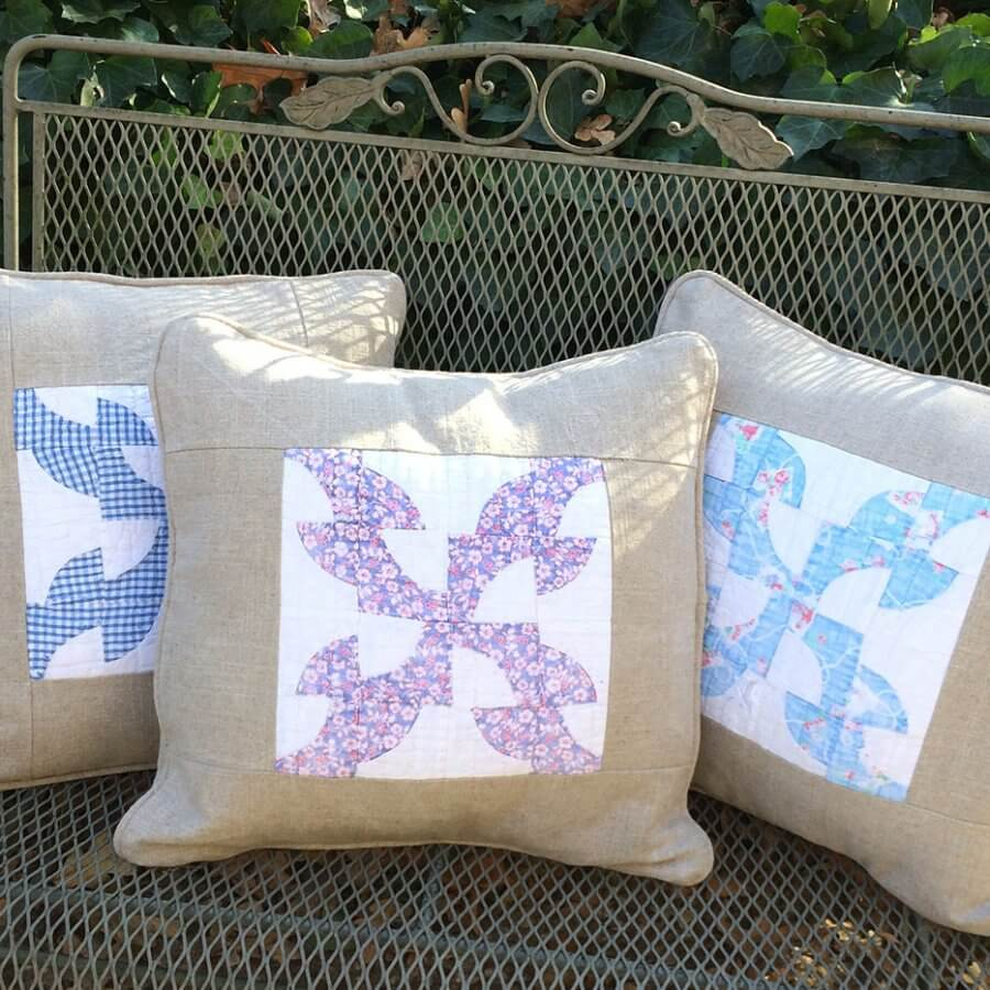 Pillows made from old tattered quilt