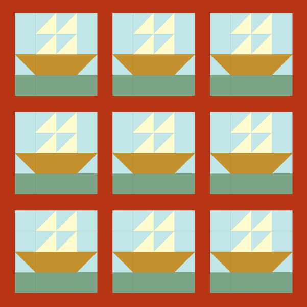 Illustration of tall ship quilt blocks in a layout with sashing