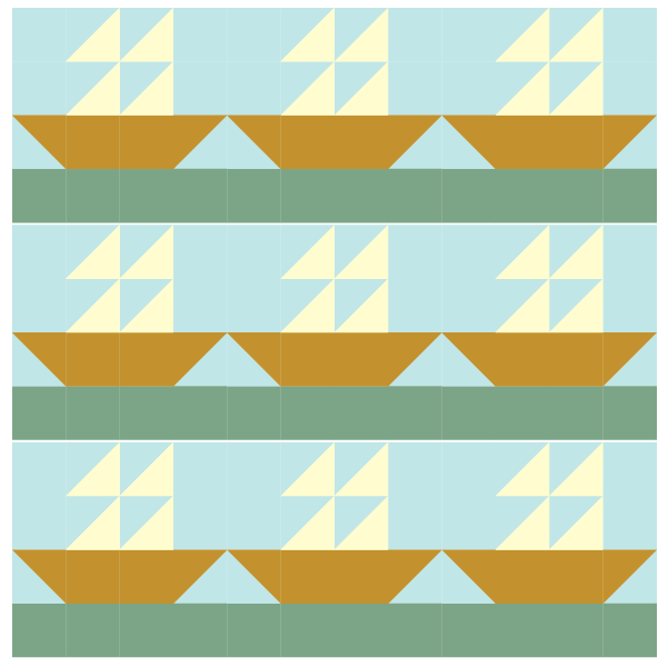 illustration of tall ship quilt blocks in a straight row layout