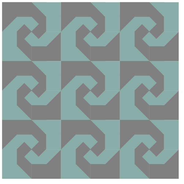 Illustration of a Grouping of snail's trail quilt blocks