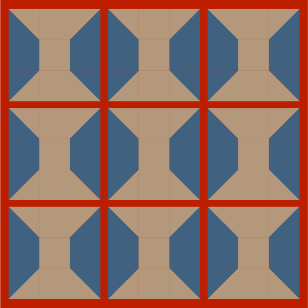 Grouping example of the spool quilt block with sashing
