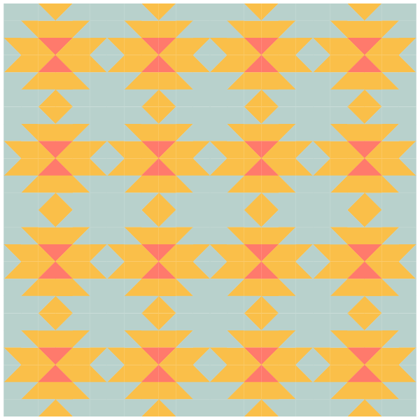 Grouping example of Squash Blossom Quilt Blocks in straight rows